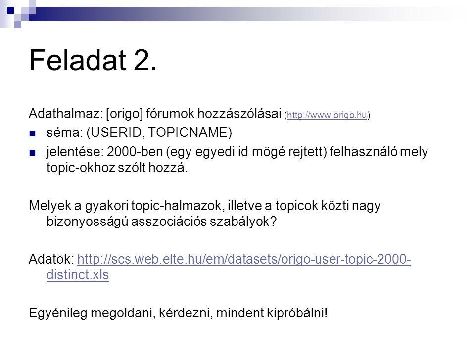 Feladat 2. Adathalmaz: [origo] fórumok hozzászólásai (http://www.origo.hu) séma: (USERID, TOPICNAME)